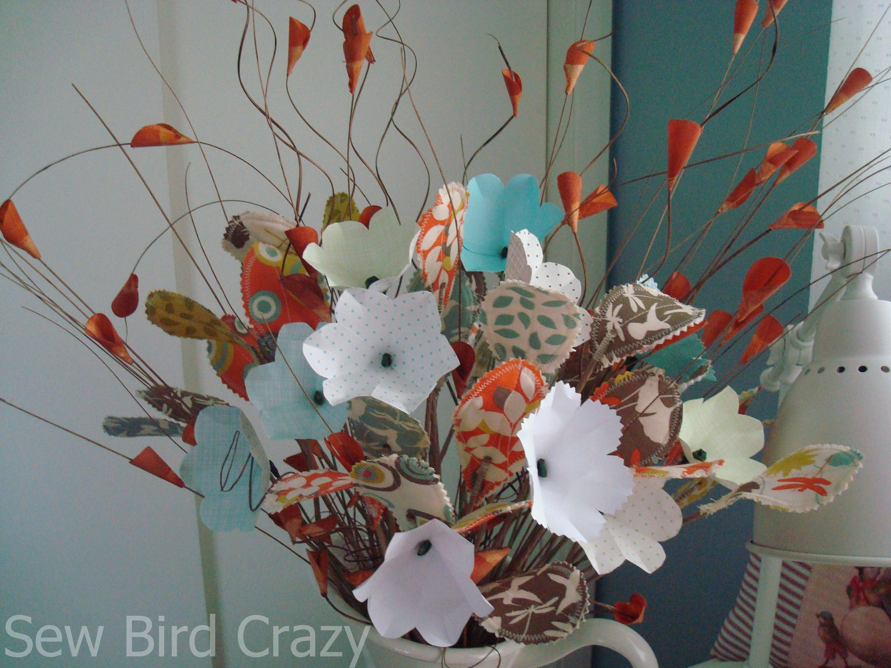 Paper Flowers And Fabric Leaves Tutorial Sew Bird Crazy
